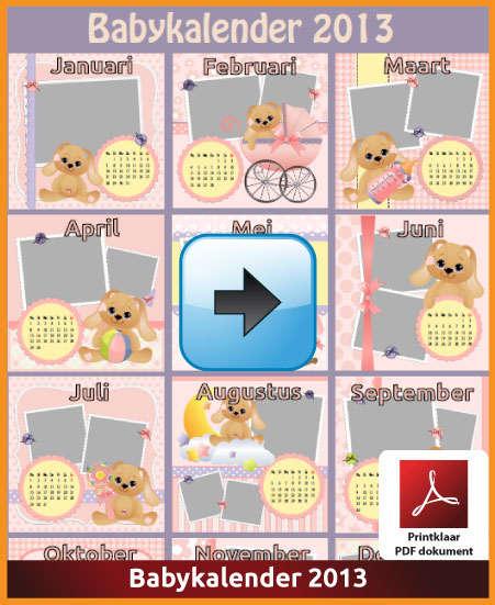 Gratis jaarkalender 2013 babykalender met de Belgie feestdagen en schoolvakanties (download kalender 2013) via www.feestdagen-belgie.be