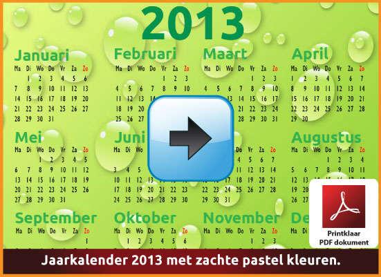 Gratis jaarkalender 2013 met de Belgie feestdagen en schoolvakanties. Zachte Kleuren. (download kalender 2013) via www.feestdagen-belgie.be