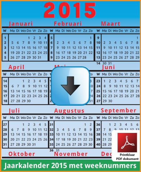 Gratis jaarkalender 2015 met weeknummers met Belgie feestdagen en schoolvakanties (download kalender 2015) via www.feestdagen-belgie.be