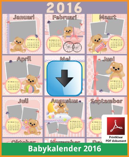 Gratis jaarkalender 2016 babykalender met de Belgie feestdagen en schoolvakanties (download kalender 2016) via www.feestdagen-belgie.be