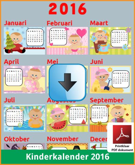 Gratis jaarkalender 2016 kinderkalender met de Belgie feestdagen en schoolvakanties (download kalender 2016) via www.feestdagen-belgie.be