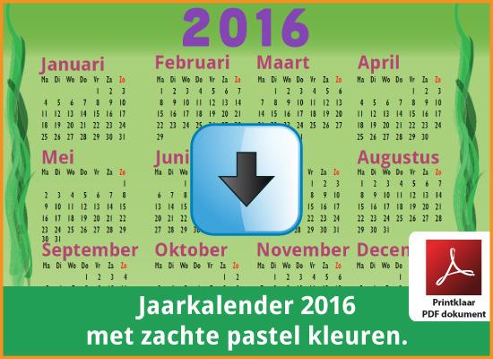 Gratis jaarkalender 2016 met de Belgie feestdagen en schoolvakanties. Zachte Kleuren. (download kalender 2016) via www.feestdagen-belgie.be