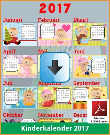 Gratis kinderkalender 2017 met de Belgie feestdagen en schoolvakanties (download print kalender 2017) via www.feestdagen-belgie.be