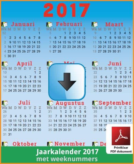 Gratis jaarkalender 2017 met weeknummers met Belgie feestdagen en schoolvakanties (download print kalender 2017) via www.feestdagen-belgie.be