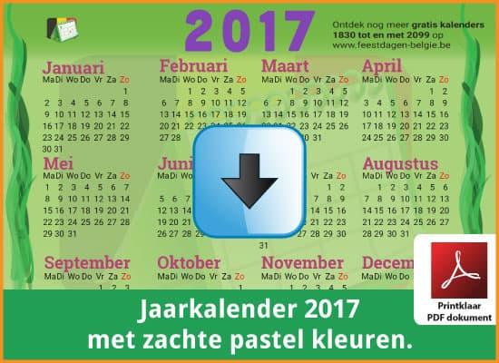 Gratis jaarkalender 2017 met de Belgie feestdagen en schoolvakanties. Zachte Kleuren. (download print kalender 2017) via www.feestdagen-belgie.be