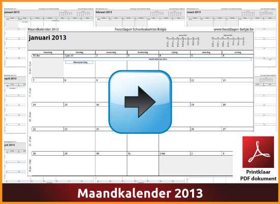Gratis maandkalender 2013 met de Belgie feestdagen en schoolvakanties (download kalender 2013) via www.feestdagen-belgie.be