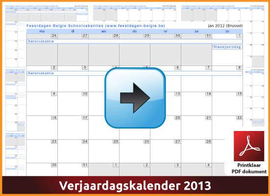 Gratis verjaardagskalender 2013 met de Belgie feestdagen en schoolvakanties (download kalender 2013) via www.feestdagen-belgie.be