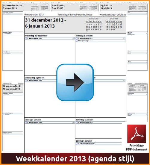 Gratis weekkalender 2013 met de Belgie feestdagen en schoolvakanties. Agenda Stijl. (download kalender 2013) via www.feestdagen-belgie.be