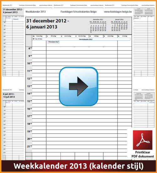 Gratis weekkalender 2013 met de Belgie feestdagen en schoolvakanties. Kalender Stijl. (download kalender 2013) via www.feestdagen-belgie.be