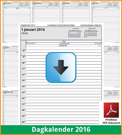 Gratis dagkalender 2016 met de Belgie feestdagen en schoolvakanties. (download kalender 2016) via www.feestdagen-belgie.be