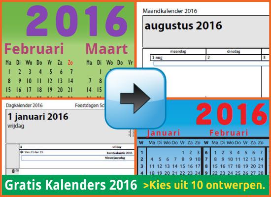 Kalenders Jaarkalenders 2016 Gratis Downloaden en Printen via www.feestdagen-belgie.be