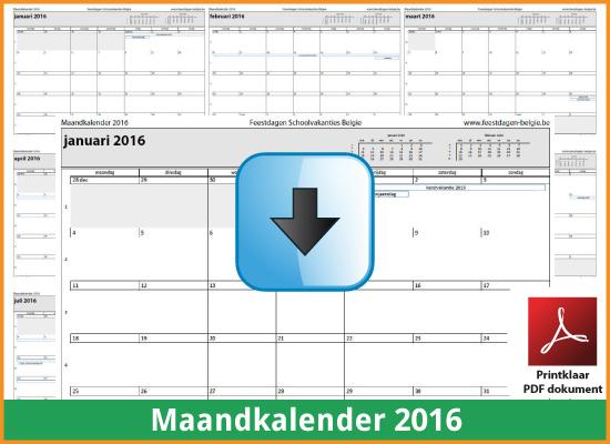 Gratis maandkalender 2016 met de Belgie feestdagen en schoolvakanties (download kalender 2016) via www.feestdagen-belgie.be