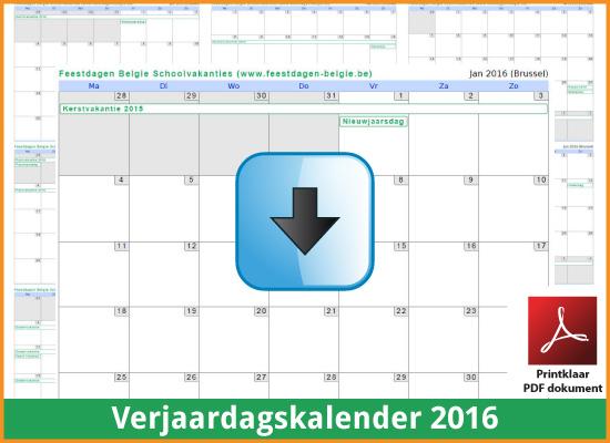 Gratis verjaardagskalender 2016 met de Belgie feestdagen en schoolvakanties (download kalender 2016) via www.feestdagen-belgie.be