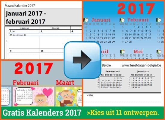 Kalenders Jaarkalenders 2017 Gratis Downloaden en Printen via www.feestdagen-belgie.be