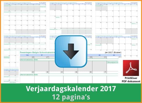 Gratis verjaardagskalender 2017 met de Belgie feestdagen en schoolvakanties (download print kalender 2017) via www.feestdagen-belgie.be