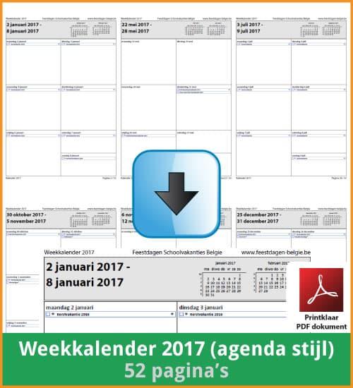 Gratis weekkalender 2017 met de Belgie feestdagen en schoolvakanties. Agenda Stijl. (download print kalender 2017) via www.feestdagen-belgie.be