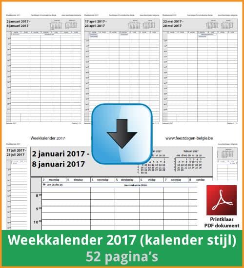 Gratis weekkalender 2017 met de Belgie feestdagen en schoolvakanties. Kalender Stijl. (download print kalender 2017) via www.feestdagen-belgie.be