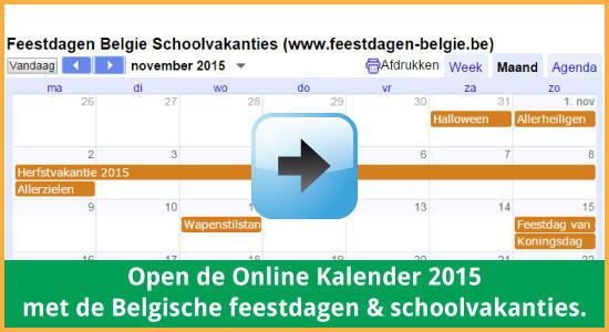 Google Agenda 2015 Feestdagen Schoolvakanties Belgie datums kalender via www.feestdagen-belgie.be