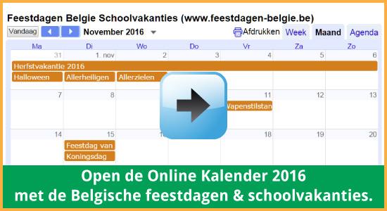 Google Agenda 2016 Feestdagen Schoolvakanties Belgie datums kalender via www.feestdagen-belgie.be