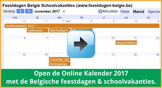 Google Agenda 2017 Feestdagen Schoolvakanties Belgie datums kalender via www.feestdagen-belgie.be