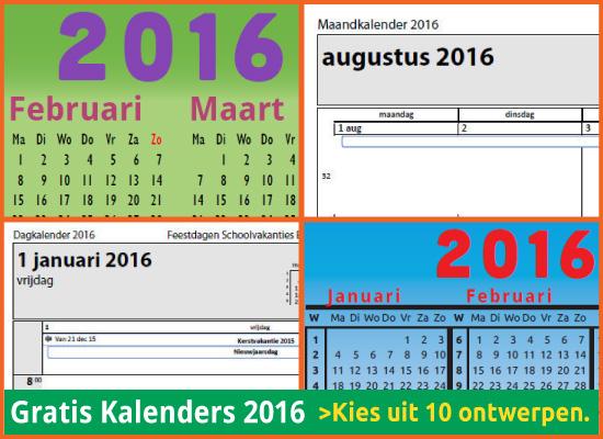 kalenders 2016 gratis downloaden met Belgische feestdagen en schoolvakanties via http://www.feestdagen-belgie.be/