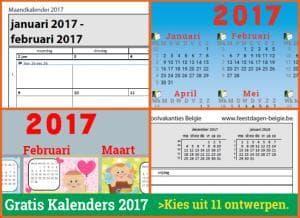 kalenders 2017 gratis downloaden met Belgische feestdagen en schoolvakanties via http://www.feestdagen-belgie.be/