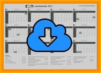 Gratis jaarkalender A4 Liggend 2017 met weeknummers en Belgie feestdagen (download print kalender 2017) via www.feestdagen-belgie.be